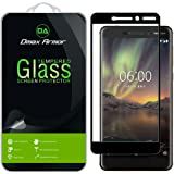 [2-Pack] Dmax Armor for Nokia 6.1 (Nokia 6 2018) Tempered Glass Screen Protector, (Full Screen Coverage) with Lifetime (Black)
