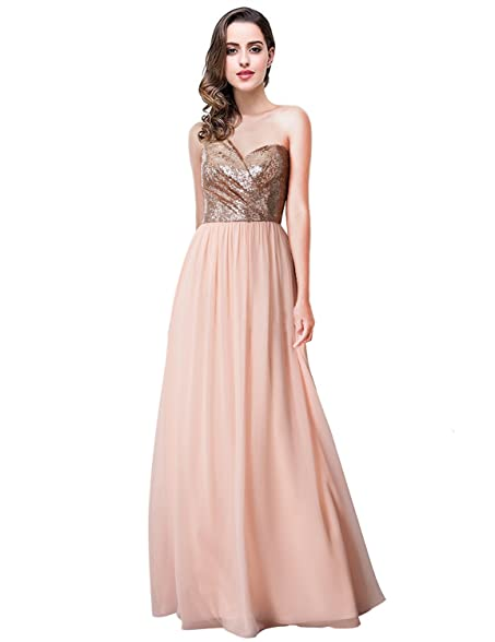 Womens Chiffon One-Shoulder Long Evening Dress A Line Prom Gowns Rose Gold US2