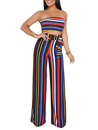 7a8623674fcb Glamaker Women s Sexy Strapless Backless Stripe Wide Leg 2 Pieces Outfit  Jumpsuit Crop Top and Pants