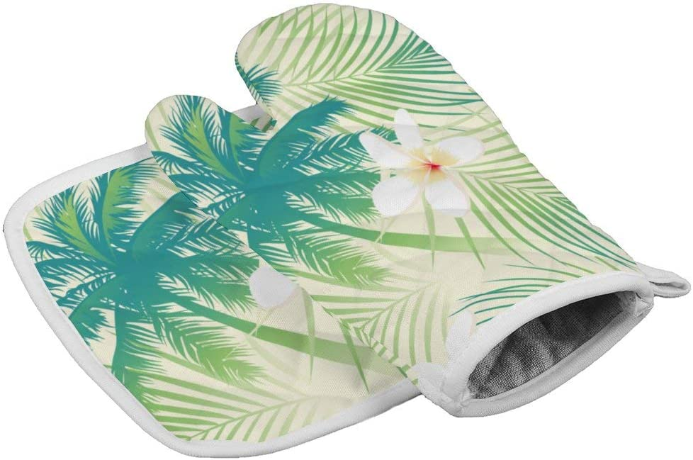 July-Seven Palm Tree Leaf Oven Mitts,Professional Heat Resistant Microwave BBQ Oven Insulation Thickening Cotton Gloves Baking Pot Mitts with Soft Inner Lining