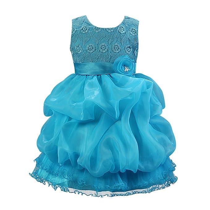 Free Fisher - Vestido de Princesa de Fiestas Boda para Niñas Princesa, Azul, 3