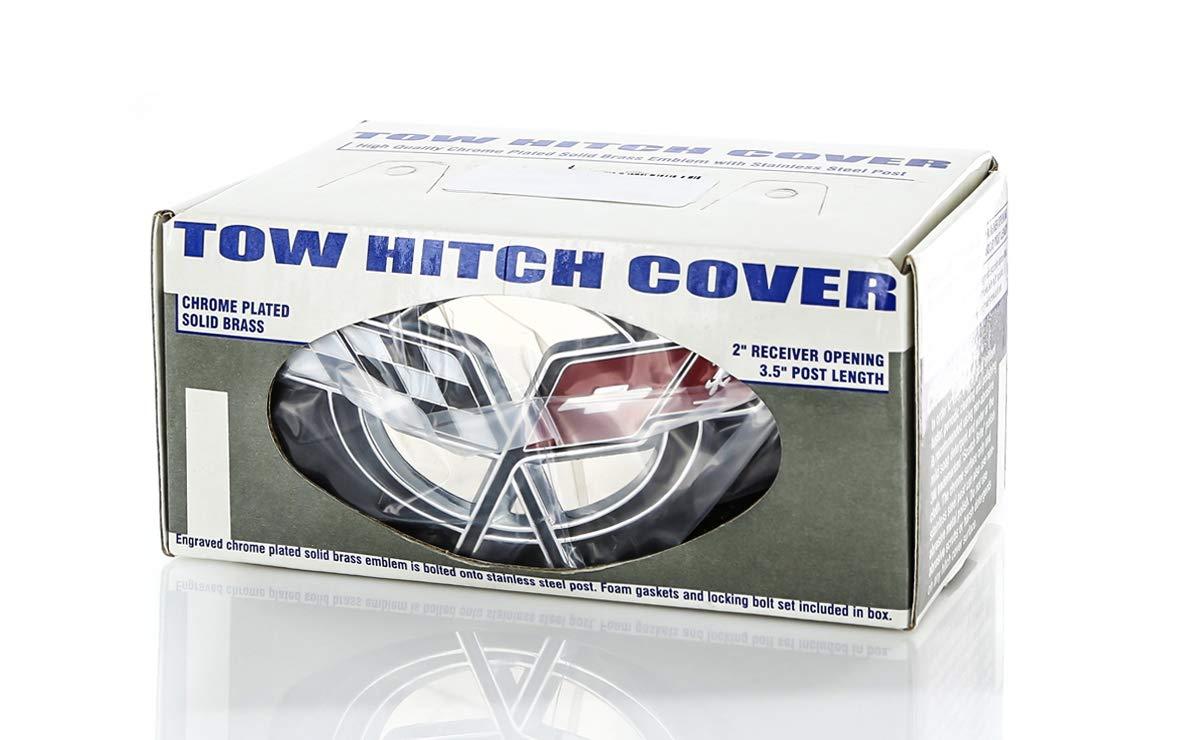Chevy Metal Trailer Hitch Cover Plug C5 Corvette Design 3D Flag Emblem by Chevrolet
