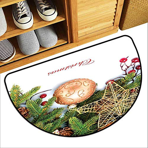 YOFUHOME Christmas Printed Door mat Holly Berries Tree Topper Baubles Vintage Seasonal Ornaments Pine Image Personality W31 x L19 Bronze Ruby - Holly Christmas Floyd