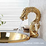 Bathroomacccesories Faucet Shower tap F6Lavatory faucet _ high-end domineering Dragon gold-plated antique Crystal three holes and five-piece tub,Antique Dragon washing machine tap