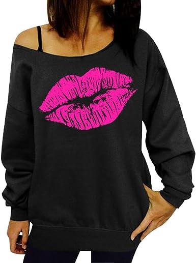 Womens Long Sleeve Lips Print Hoodie Sweatshirt Ladies Baggy Pullover Jumper US
