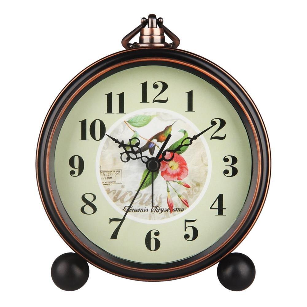 Rose HENSE 5 Classic Retro Antique Design European Style Decorative Mantel Clock Mute Silent Quiet Quartz Movement Metal Frame Desk Table Alarm clock HA65