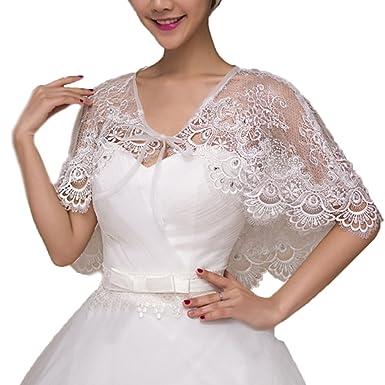 172e5fe0b8 Lace Bride Cape Capelet Wrap Shrug Shawls Stole Boleros Rhinestone Wedding  at Amazon Women s Clothing store