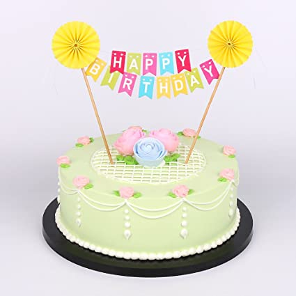 LXZS BH Yellow Sun Flower Happy Birthday Cake Topper Banner Rainbow Colorful Party