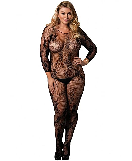 f97ee943a9 Leg Avenue Women s Plus Size Seamless Floral Lace Long Sleeved Bodystocking  - Black - Plus Size