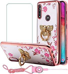 BestAlice for Motorola Moto G Power 2020 Bling Case with Tempered Glass Screen Protector & Lanyard Neck Strap, Slim Fit Soft Gel Clear Crystal TPU Glitter Cover for Girls, Butterfly Ring Kickstand