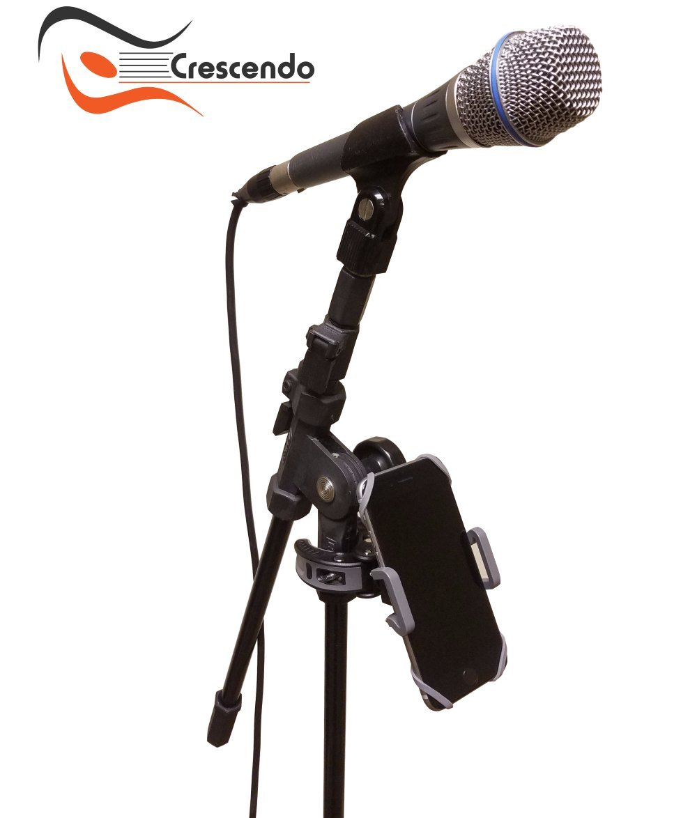 Crescendo CR-30 SlimClip Smart Phone Holder | Mount Clamp for Microphone Stand, Boom, Pole, Mic or Music Stand | Apple iPhone, Samsung Galaxy or Note, Google Pixel, LG, HTC, Moto, OnePlus by Crescendo (Image #2)