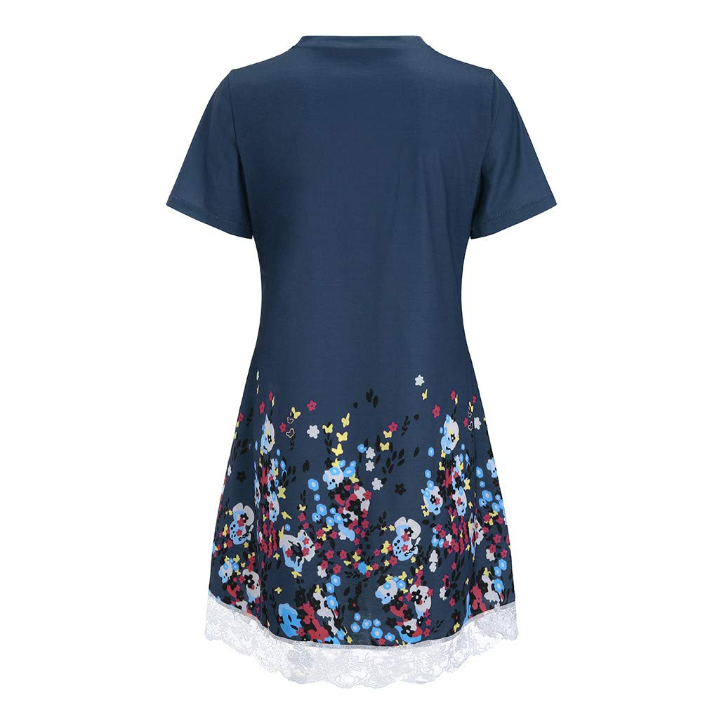 NRUTUP Women O Neck Casual Print Pocket Lace Short Sleeve Mini Dress Loose Party Dress (Blue,S) by NRUTUP (Image #4)
