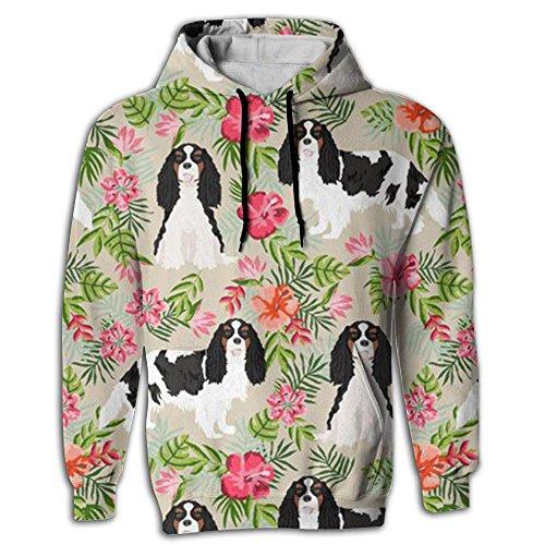 King Charles Spaniel Dog Men Hip Hop Cozy Long Sleeve Youth Hooded ()