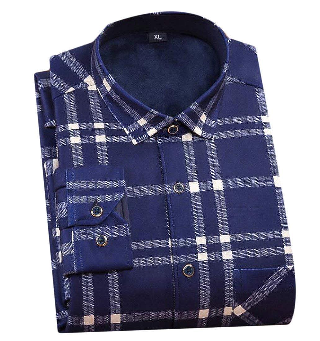 Alion Mens Winter Thicken Fleece Slim Long Sleeve Button Down Plaid Shirts Tops