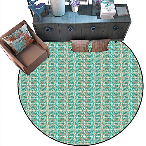 Teal White Non-Slip Round Rugs Floral Moroccan Mosaic Pattern Ancient Cultural Design Eastern Asian Tile Living Dinning Room Bedroom Rugs (5'3