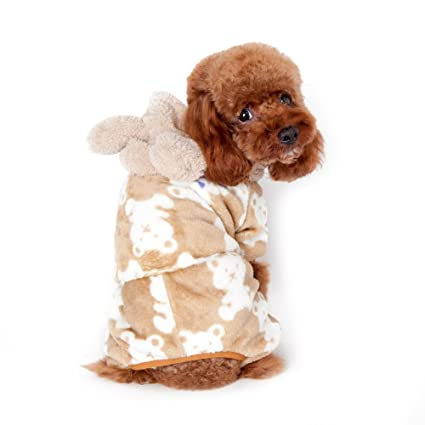 c8cef4b12 Gold Wing Cute Cozy Coral Fleece Sweetie BB Bear Pattern Pet Dog Coat  Jumpsuit Hoodie Coffee