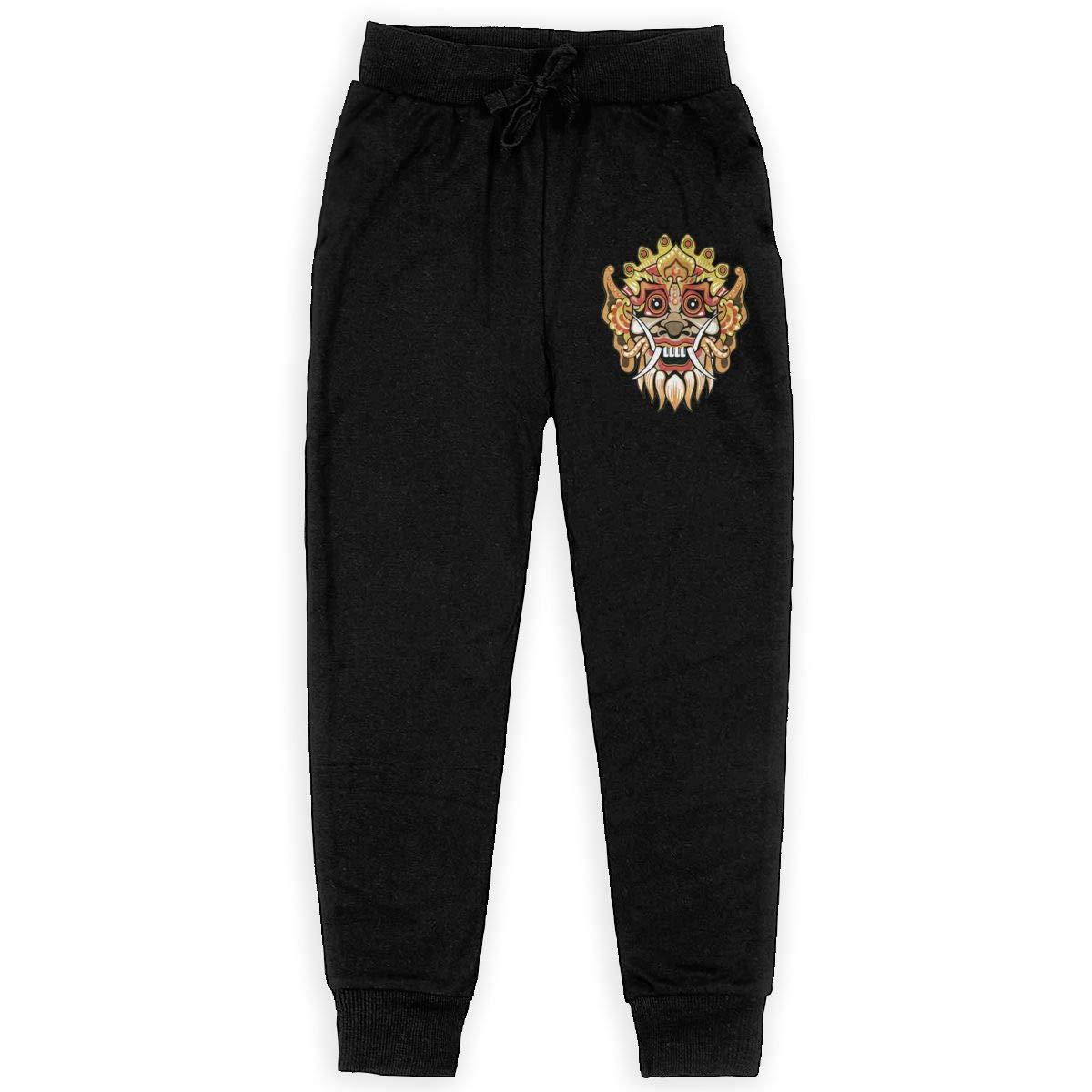 Dunpaiaa Cute Barong Boys Sweatpants,Joggers Sport Training Pants Trousers Black
