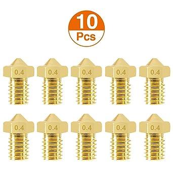 5Pcs//Lot 0.4mm Brass Nozzles for 1.75mm 3D Printer V5 V6 Hotend Extruder