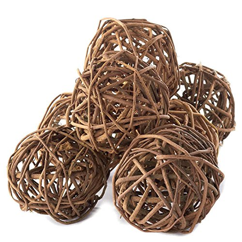 Factory Direct Craft Group of 7 Hand Crafted Natural Brown Grapevine Twig Balls