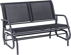 SUPERJARE Outdoor Swing Glider Chair, Patio Bench For 2 Person, Garden  Rocking Seating