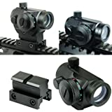 Spike Tactical Reflex Red Green Dot Sight Scope w/ Dual High / Low Profile Rail Mounts Airsoft Hunting