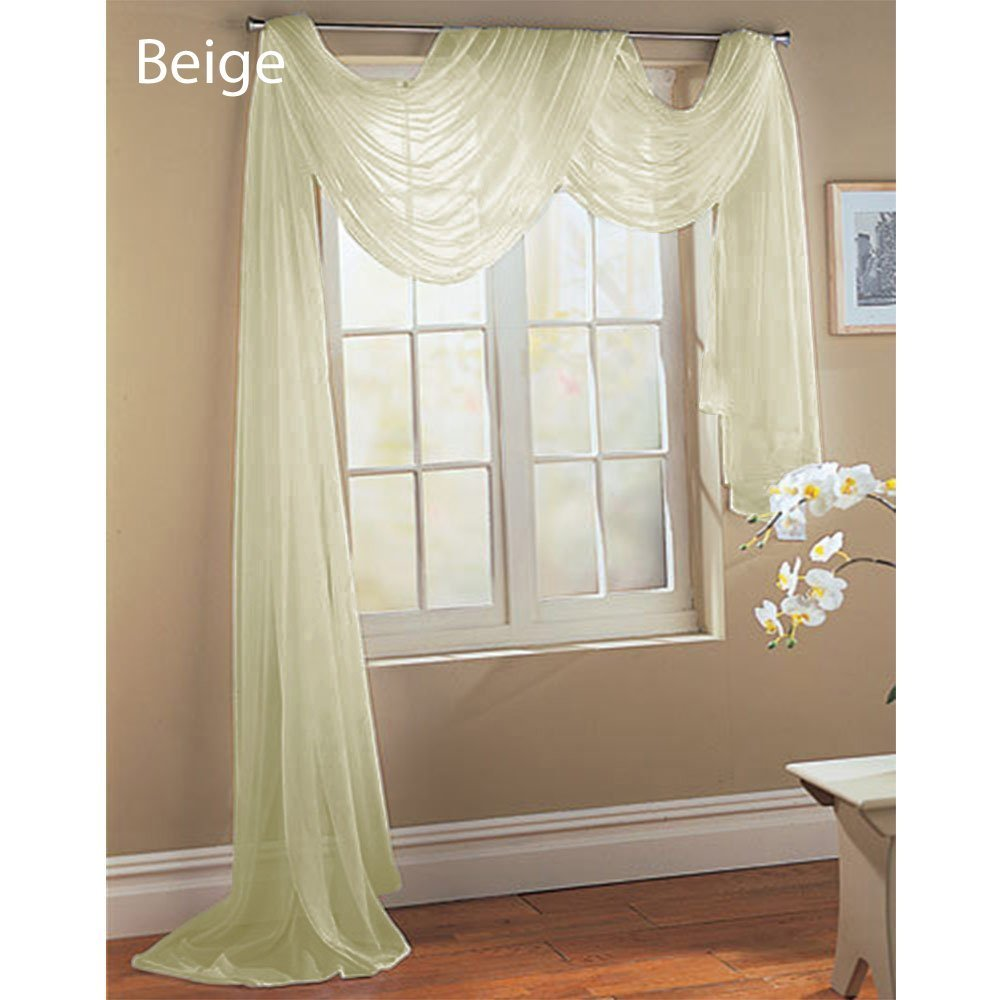 Luxury Discount Beautiful Elegant Solid Beige Sheer Scarf Valance Topper Long Window Treatment Scarves