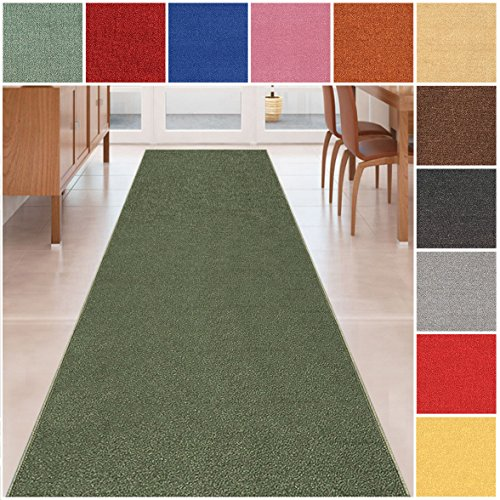 Custom Size OLIVE GREEN Solid Plain Rubber Backed Non-Slip Hallway Stair Runner Rug Carpet 22 inch Wide Choose Your Length 22in X 9ft