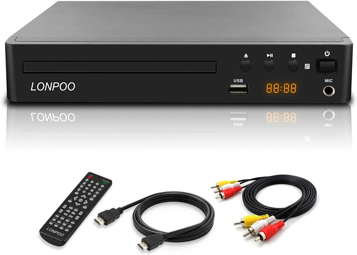 LONPOO Compact DVD CD Player Codefree Multi Region Play, Support 1080P Upscaling, HDMI & AV Output (Cable Included), USB2.0 Port Input, Mic Port