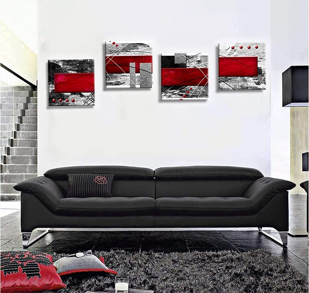 Abstract Canvas Wall Art Black White and Red Wall Decor Livingroom Bedroom Bathroom Posters Picture Prints Framed(30*30*4, G1)