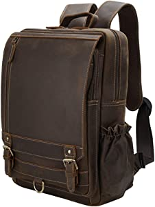 Tiding Leather Vintage Backpack 15.6 Inch Laptop Bag School Travel Shoulder Daypack with YKK Metal Zippers