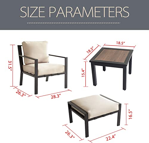 LOKATSE HOME 5-Piece Outdoor Conversation Set Patio Furniture Sofa Club Chairs