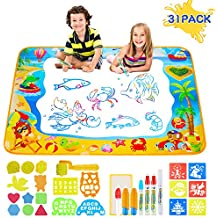 Zoneyee Aqua Magic Doodle Mat,31Pcs Large Educational Water Drawing Mat for Kids Toy Toddler Painting Board with Magic Pens, Brush, and Drawing Accessories for All Ages Boys Girls Size 39'' x 27