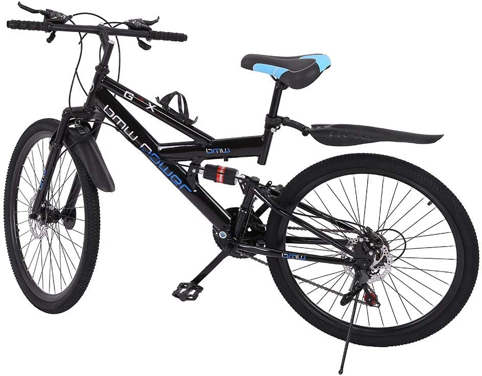 iCJJL Mountain Bikes High Carbon Steel Folding Outroad Full Suspension MTB Dual Disc Brake Lightweight and Durable City Riding Travel Go Working Mountain Cycling for Men Women (Black 26 in)