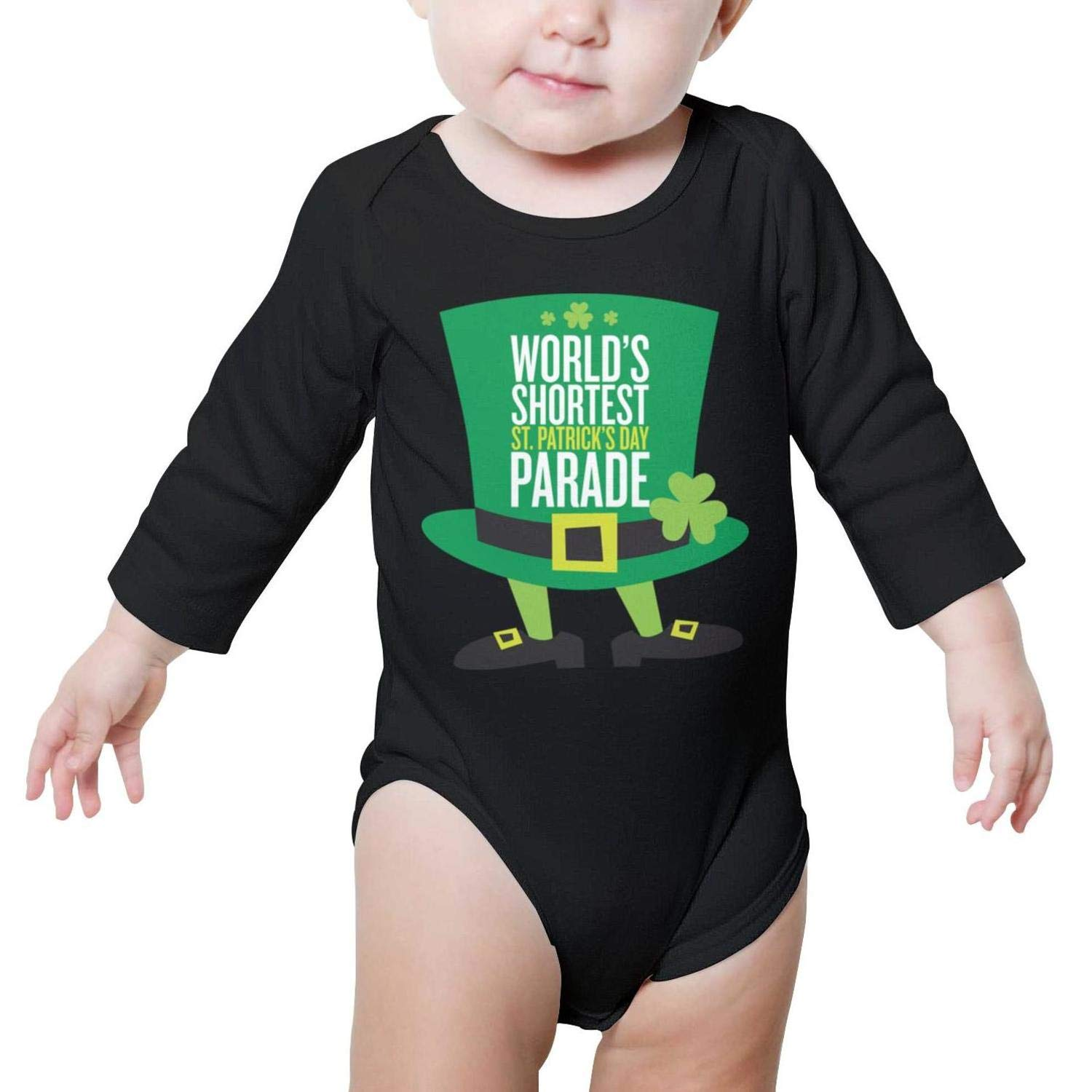 PoPBelle Happy St Patricks Day hat Newborn Black Outfits Long Sleeve Neutral Cotton Outdoor
