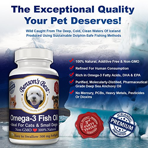 Benson 39 s best omega 3 fish oil for cats small dogs for Omega 3 fish oil for dogs