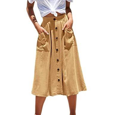 Haucalarm Faldas casuales para mujer, color puro, botones de ...