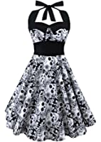 L&ZZ Women's Skull Printed Backless Swing Midi Dress Floral Print Halter Cocktail Dress Plus Size