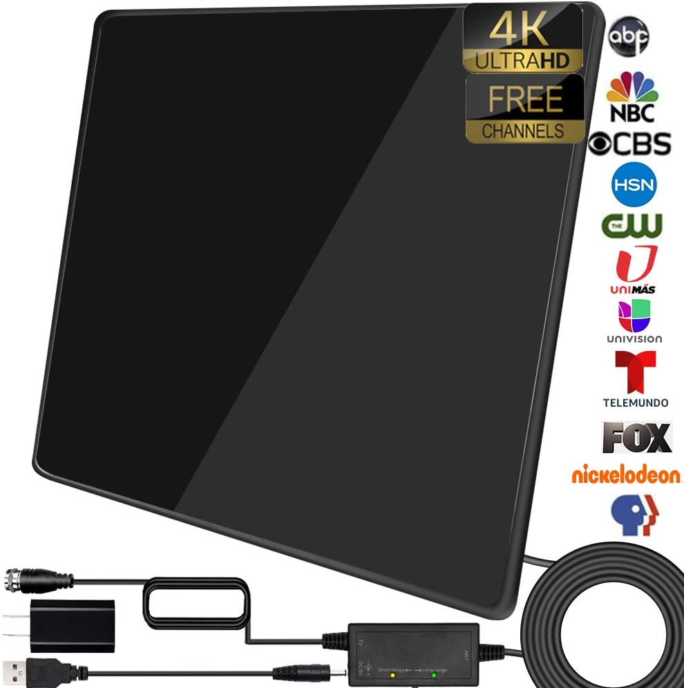 TV Antenna- Amplified Indoor Digital Antenna Up to 200+ Miles Range Support 4K 1080P & All TV's HDTV Antenna with Signal Booster,17ft Coax Cable/USB Power Adapter (Black)