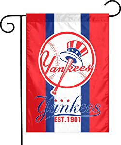 Waynejunior New York Garden Flag Baseball Yard Flag 12 x 18 Inches Oxford Fabric Double-Sided Printing Indoor Banner