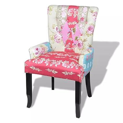 Amazon.com: Sylvia Fred Multicolor Patchwork Armchair Fabric ...