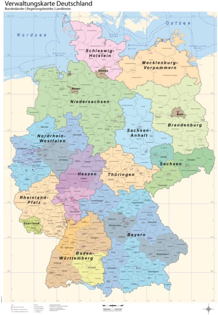 B1 Verwaltungskarte Deutschland Bundeslander Regierungsbezirke