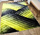 LA Rug Linens 3D Shimmer Home Store Office Cozy Shag Collection 3D Shag Rug Contemporary Living & Bedroom Soft Shaggy Area Rug 8-Feet-by-10-Feet-Yellow, Black, Gray (SAD 396 Yellow Black Gray) Review