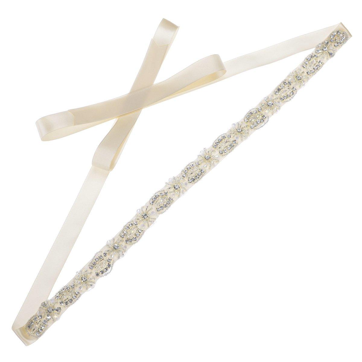 Remedios Elegant and Stylish Pearl Rhinestone Embellishments Bridal Belt Sash,Champagne