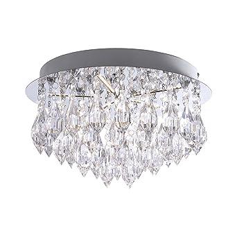 Elegant 5 Flammige LED Deckenlampe Acryl Anhänger, Deckenleuchte Lampe Leuchte  Wohnzimmer Kristall Optik, Tropfen