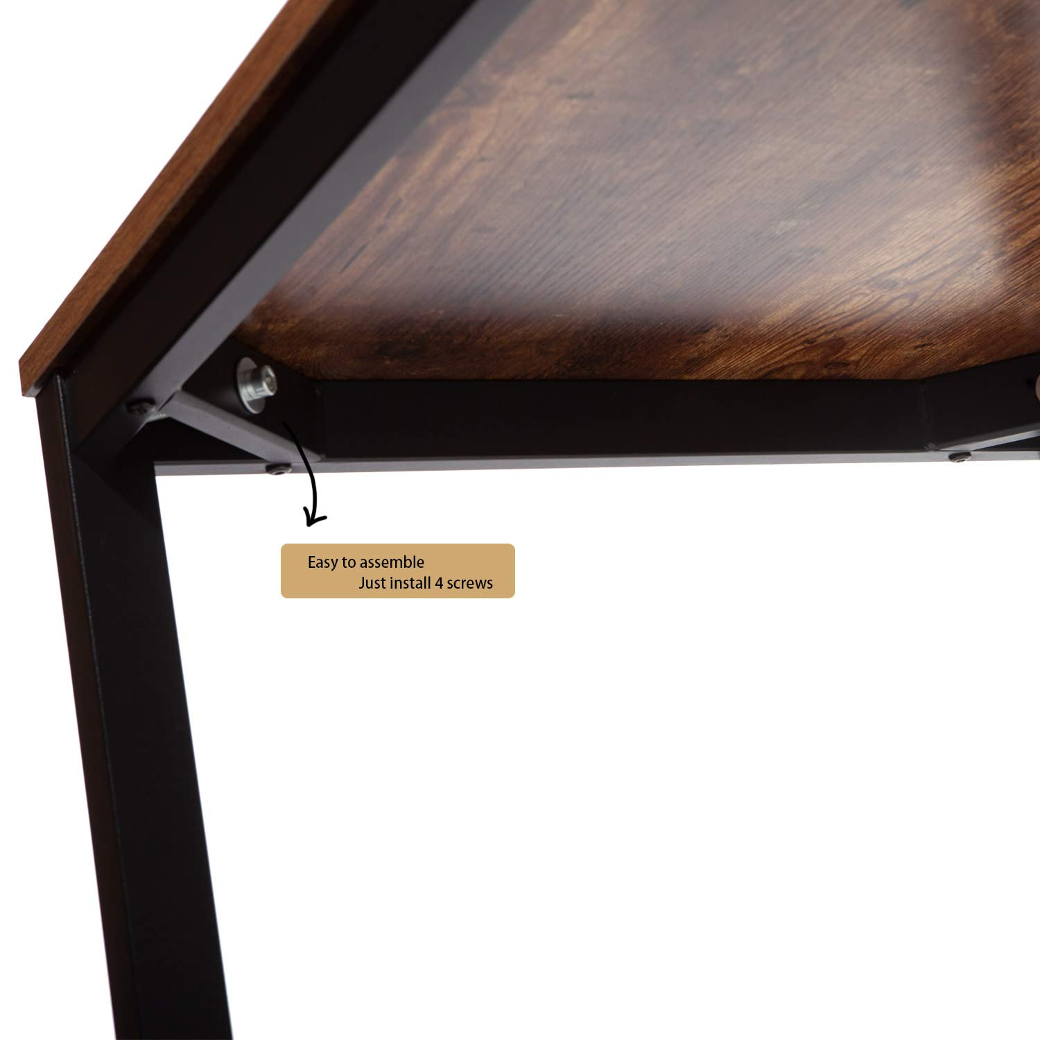 IRONCK Computer Desk, 47'' Office Desk with 0.7'' Thicker Tabletop 1.6'' Sturdy Metal Frame, Simple Study Table, Industrial Style Desk for Home Office, Matt Brown by IRONCK (Image #4)