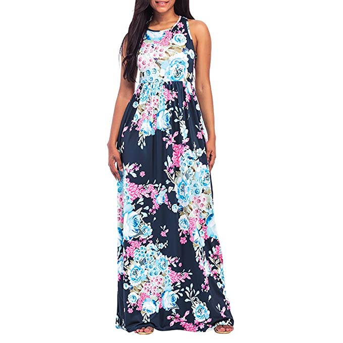 4926634f65 Sexy Women Floral Print Round Neck Sleeveless Summer Vintage Elegant Long  Maxi Casual Beach Dress Dark