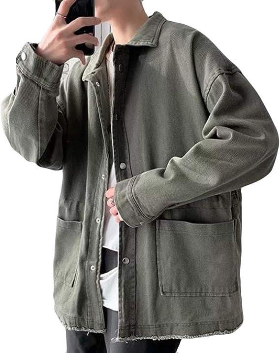 Alhylaデニムジャケット メンズ ゆったり コート BF風 プルオーバー ジージャン 男性 原宿風 かっこいい gジャン 韓国風 アウター デニム ジャケット 春 夏 秋