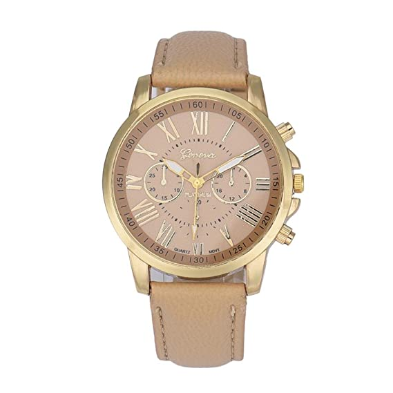Bestow Relojes de Pulsera de Pulsera de Acero Inoxidable de Cuarzo para Mujer Ginebra Clš¢sica (Beige): Amazon.es: Deportes y aire libre