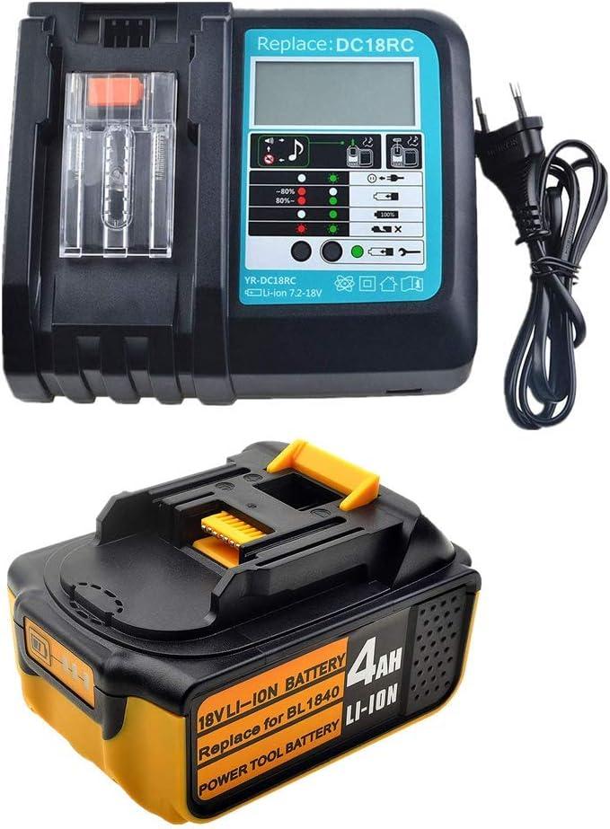 Batería BL1840 18 V 4,0 Ah con 3 A DC18RC DC18RA cargador para Makita Radio de obras DMR100 DMR108 DMR107 DMR106 DMR106B DMR102 DMR104 DMR110 DMR101 DMR103B BMR102 BMR100 BMR104 18 V Radio