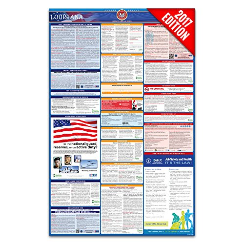 2016 Louisiana Labor Law Poster – State & Federal Compliant – Laminated